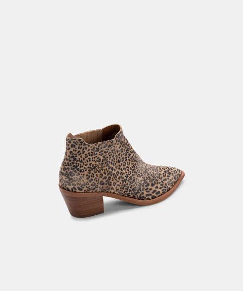 SHANA BOOTIES TAN-BLACK DUSTED LEOPARD SUEDE -   Dolce Vita