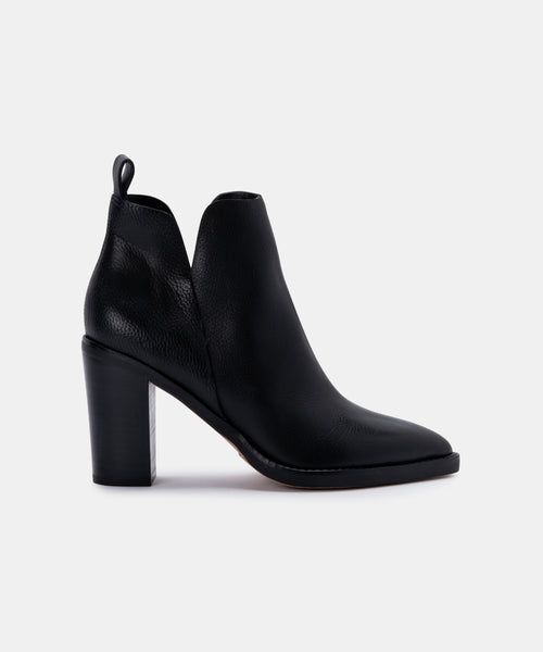 SHANON BOOTIES IN BLACK LEATHER -   Dolce Vita