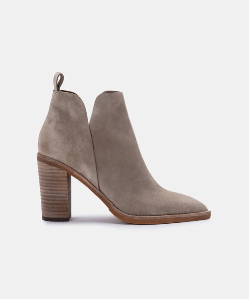SHANON BOOTIES IN DK TAUPE SUEDE -   Dolce Vita