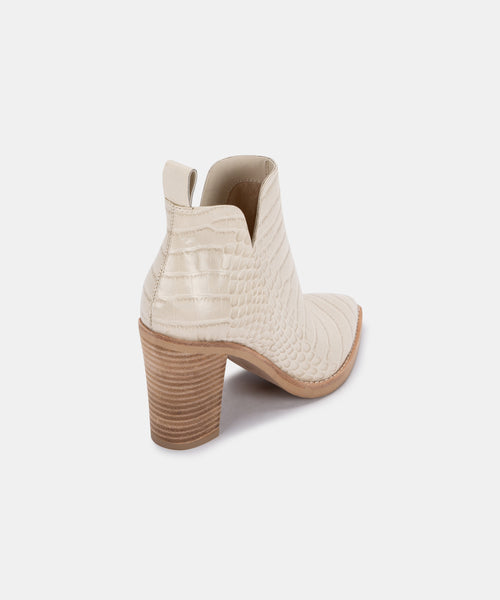 SHANON BOOTIES IN EGGSHELL CROCO PRINT LEATHER -   Dolce Vita