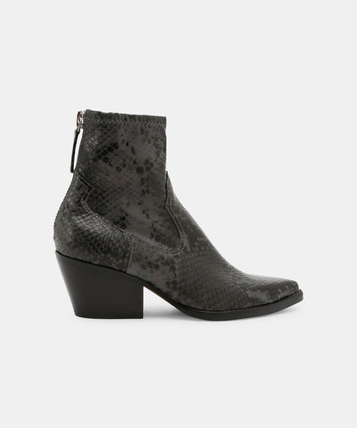 SHANTA BOOTIES IN GRAPHITE SNAKE -   Dolce Vita