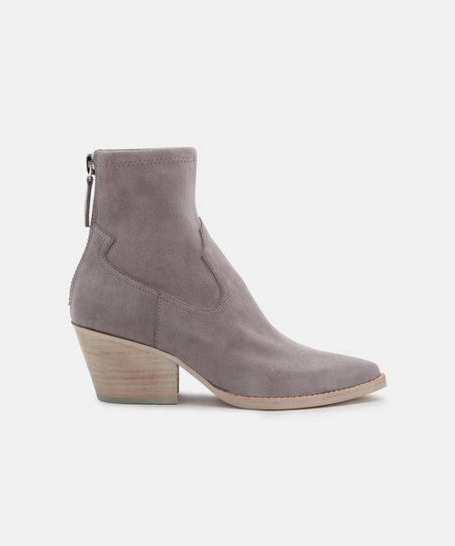 SHANTA BOOTIES IN GREY STELLA SUEDE -   Dolce Vita