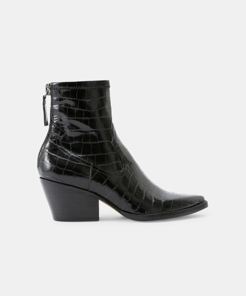 SHANTA BOOTIES IN BLACK CROCO -   Dolce Vita