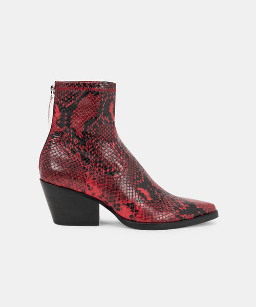 SHANTA BOOTIES IN RED SNAKE -   Dolce Vita