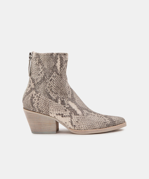 SHANTA WIDE BOOTIES IN WHITE/BLACK SNAKE PRINT LEATHER -   Dolce Vita