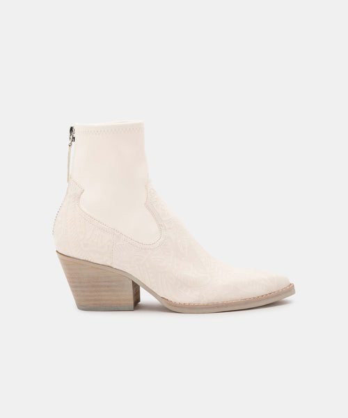 SHANTA BOOTIES IN WHITE EMBOSSED LEATHER -   Dolce Vita