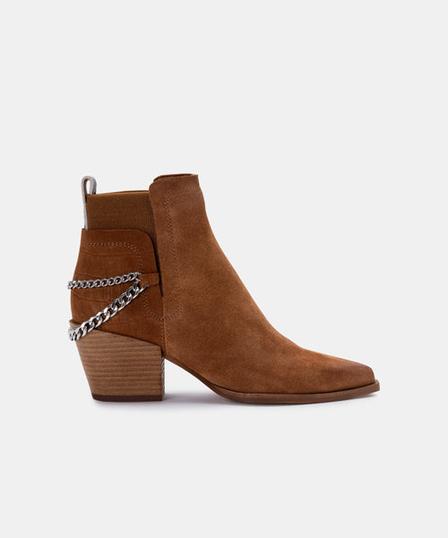 SHELAH BOOTIES IN BROWN SUEDE -   Dolce Vita