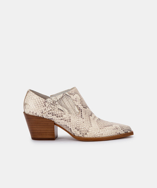 SLOAN BOOTIES IN BONE SNAKE PRINT LEATHER -   Dolce Vita