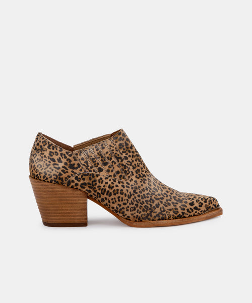SLOAN BOOTIES IN TAN-BLACK DUSTED LEOPARD SUEDE -   Dolce Vita