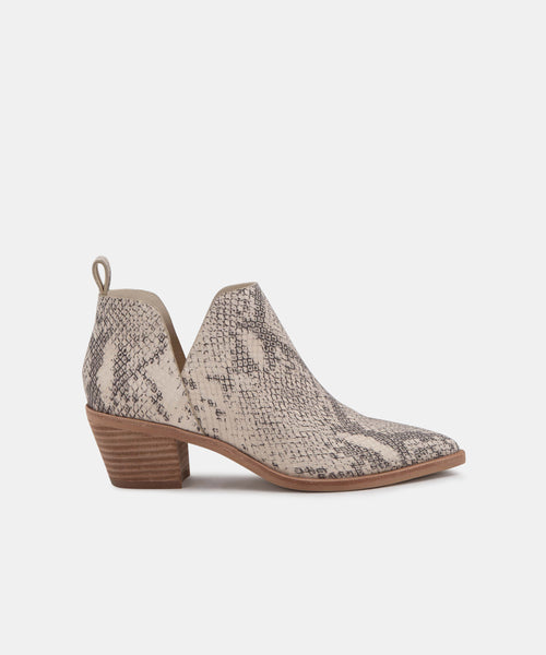 SONNI BOOTIES IN WHITE/BLACK SNAKE PRINT LEATHER -   Dolce Vita