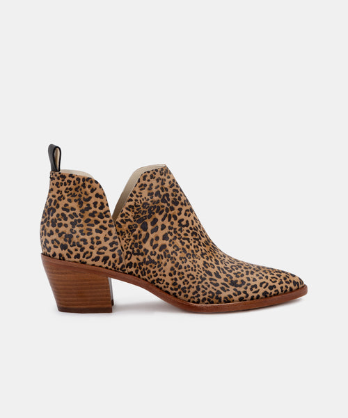 SONNI BOOTIES IN TAN/BLACK DUSTED LEOPARD SUEDE -   Dolce Vita