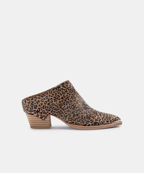 SUKIE MULES IN TAN/BLACK DUSTED LEOPARD SUEDE -   Dolce Vita
