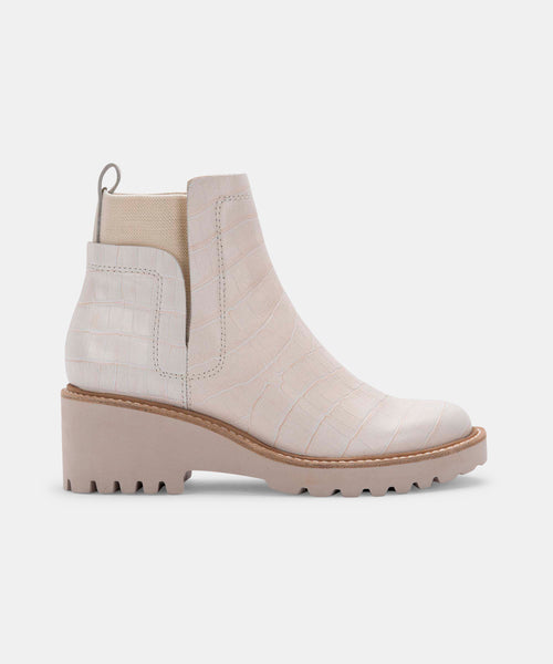 HUEY BOOTIES IN IVORY CROCO PRINT LEATHER -   Dolce Vita