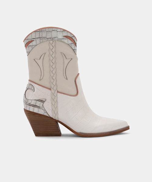 LORAL BOOTIES IN IVORY LEATHER