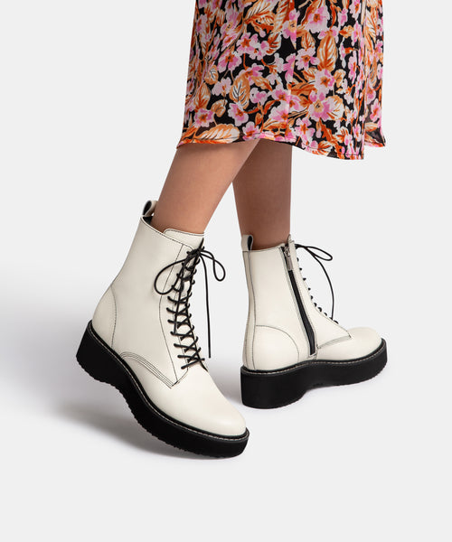 VELA BOOTS IN OFF WHITE LEATHER -   Dolce Vita