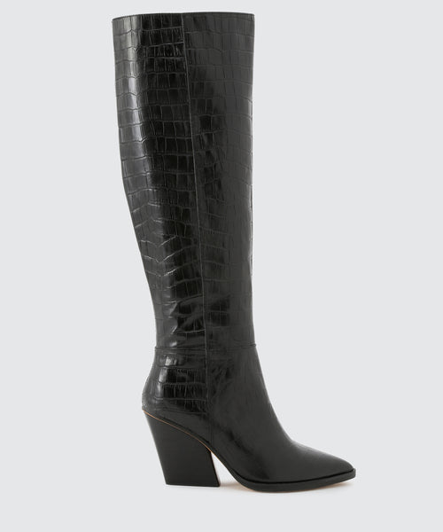 ISOBEL BOOTS IN BLACK CROCO -   Dolce Vita