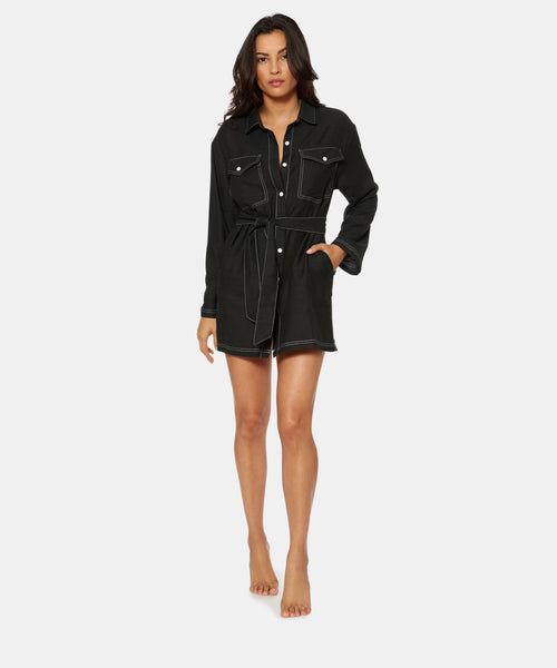 BETWEEN THE LINES DENIM MINI COVER UP IN BLACK -   Dolce Vita