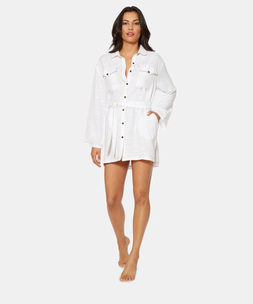 BETWEEN THE LINES DENIM MINI COVER UP IN WHITE -   Dolce Vita
