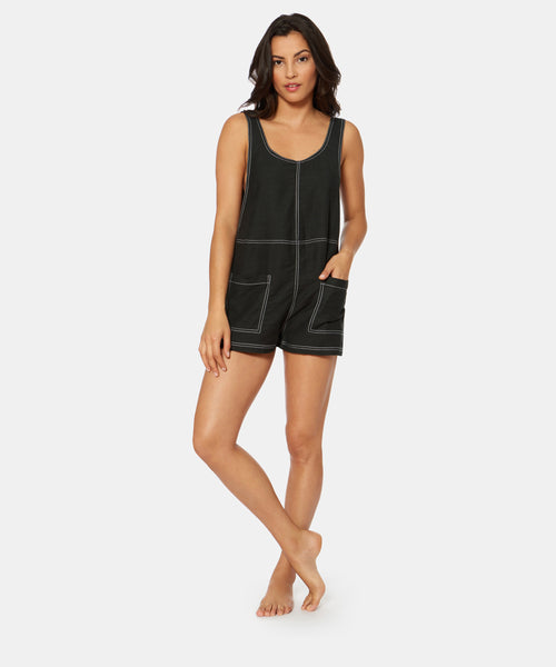 BETWEEN THE LINES DENIM ROMPER IN BLACK -   Dolce Vita