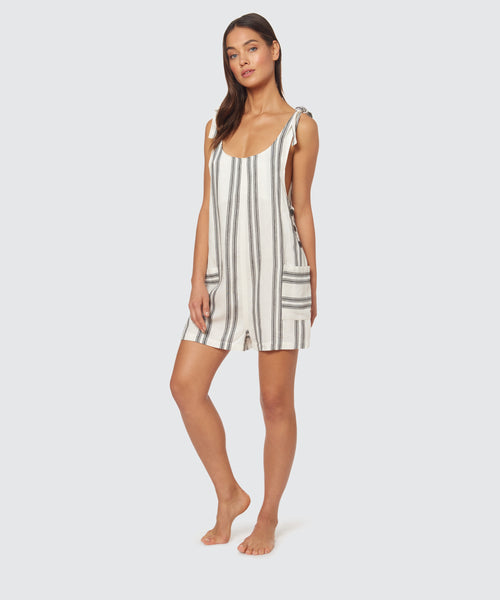 SCORPION STRIPE SHORT ROMPER IN BLACK-WHITE -   Dolce Vita