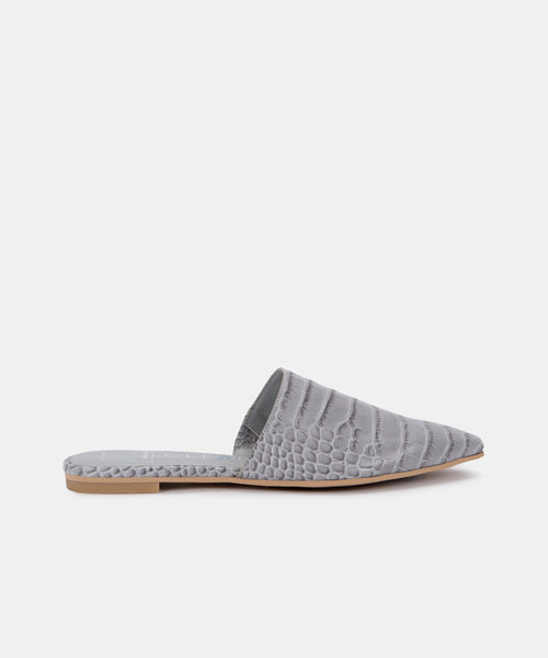 ARLA FLATS IN GREY ECO CROCO LEATHER -   Dolce Vita