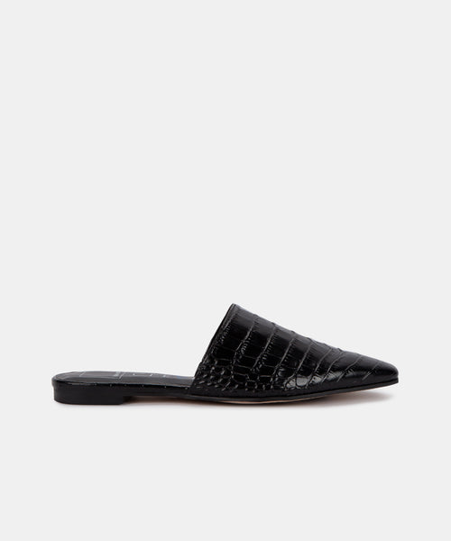 ARLA FLATS IN NOIR ECO CROCO LEATHER -   Dolce Vita