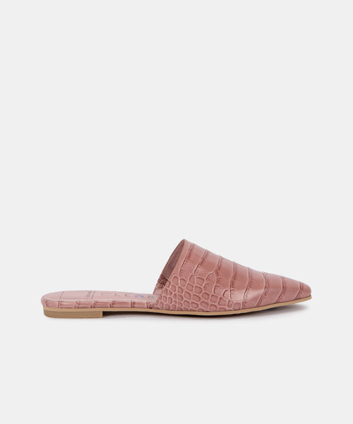 ARLA FLATS IN ROSE ECO CROCO LEATHER -   Dolce Vita
