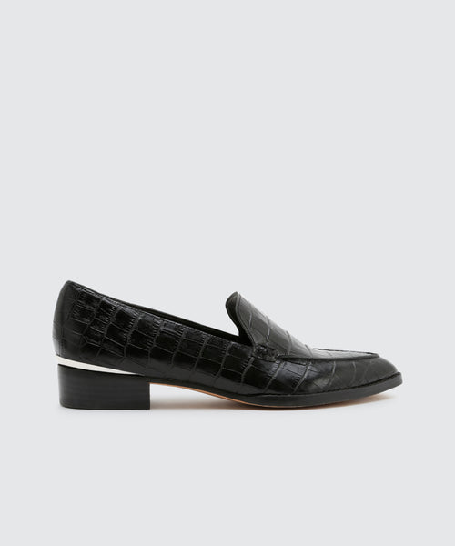 ARLENE FLATS IN BLACK CROCO -   Dolce Vita