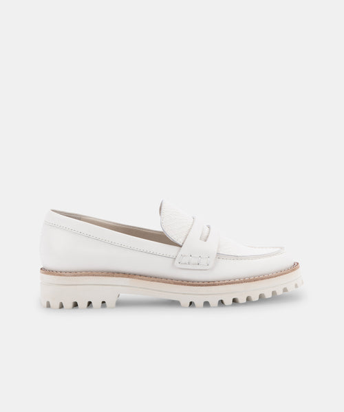 AUBREE FLATS IN WHITE LEATHER -   Dolce Vita