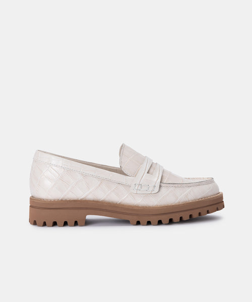 AUBREE FLATS IN IVORY CROCO PRINT LEATHER