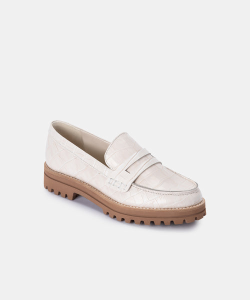 AUBREE FLATS IN IVORY CROCO PRINT LEATHER -   Dolce Vita
