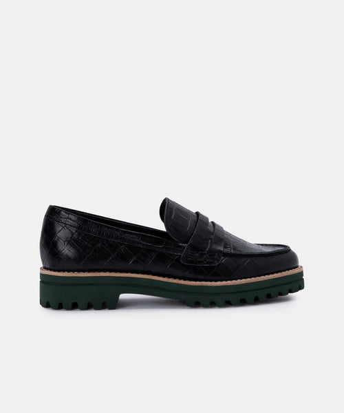 AUBREE FLATS IN NOIR CROCO PRINT LEATHER -   Dolce Vita