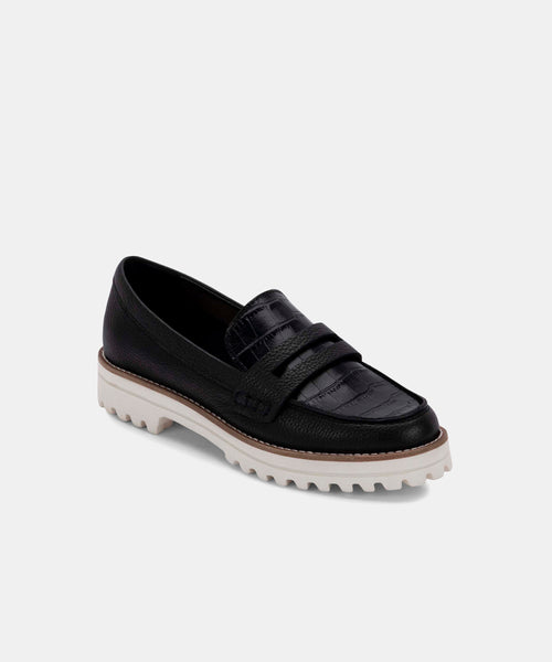 AUBREE FLATS IN ONYX LEATHER -   Dolce Vita