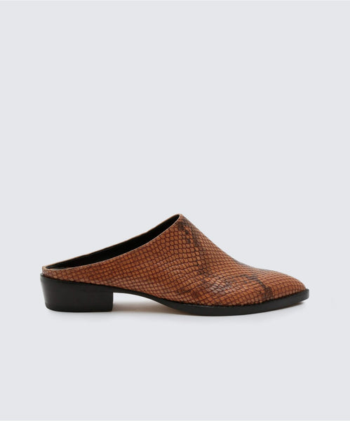 AVEN MULES IN BROWN SNAKE -   Dolce Vita