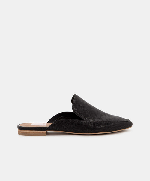 HALEE FLATS IN BLACK EMBOSSED LIZARD -   Dolce Vita