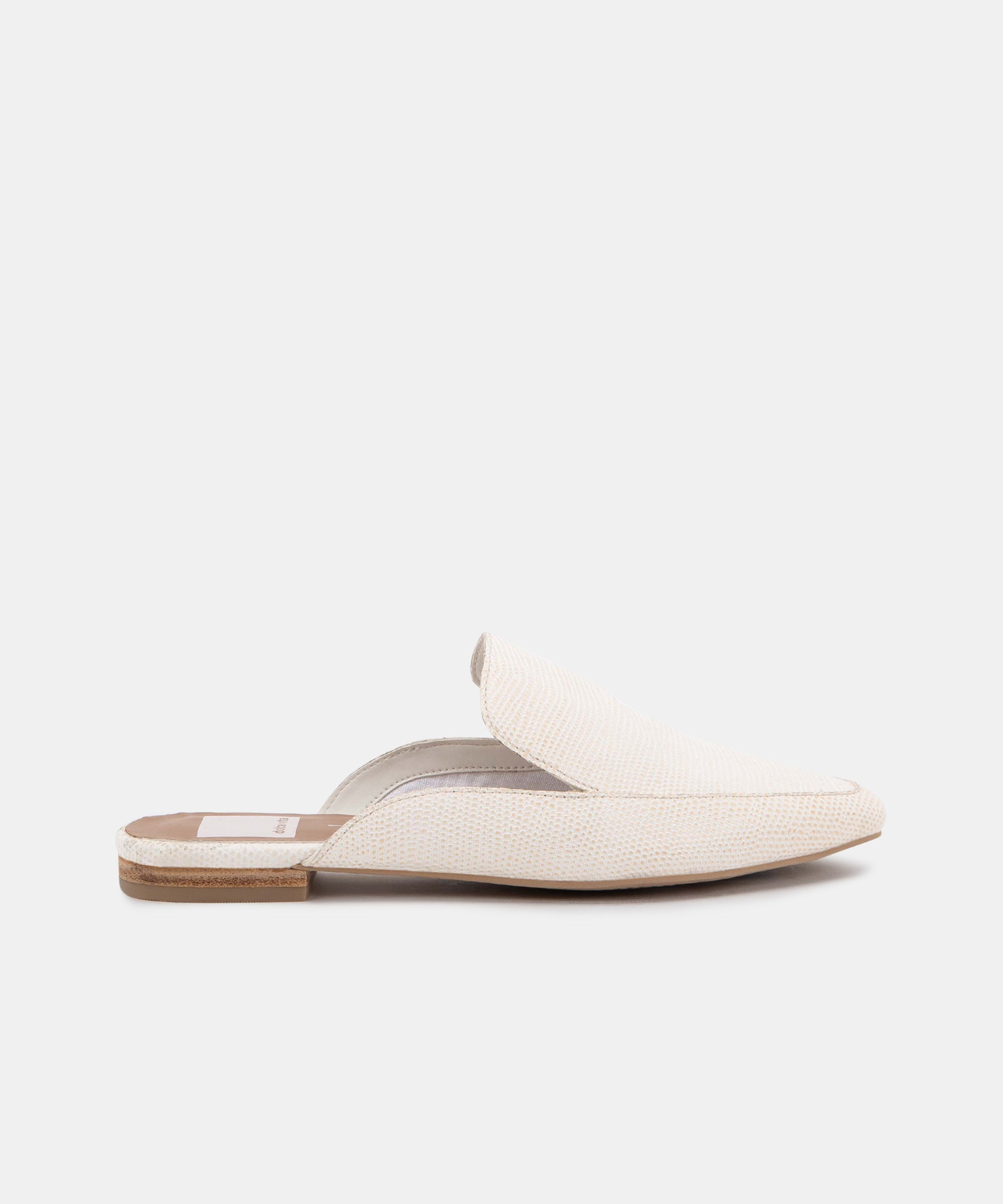 HALEE FLATS IN WHITE EMBOSSED LIZARD