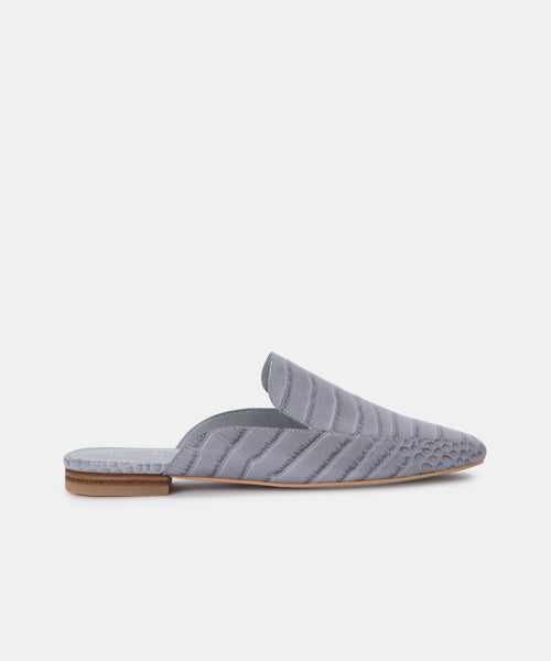 HARMNY FLATS IN GREY ECO CROC LEATHER -   Dolce Vita