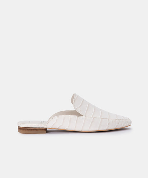 HARMNY FLATS IN IVORY CROC LEATHER -   Dolce Vita