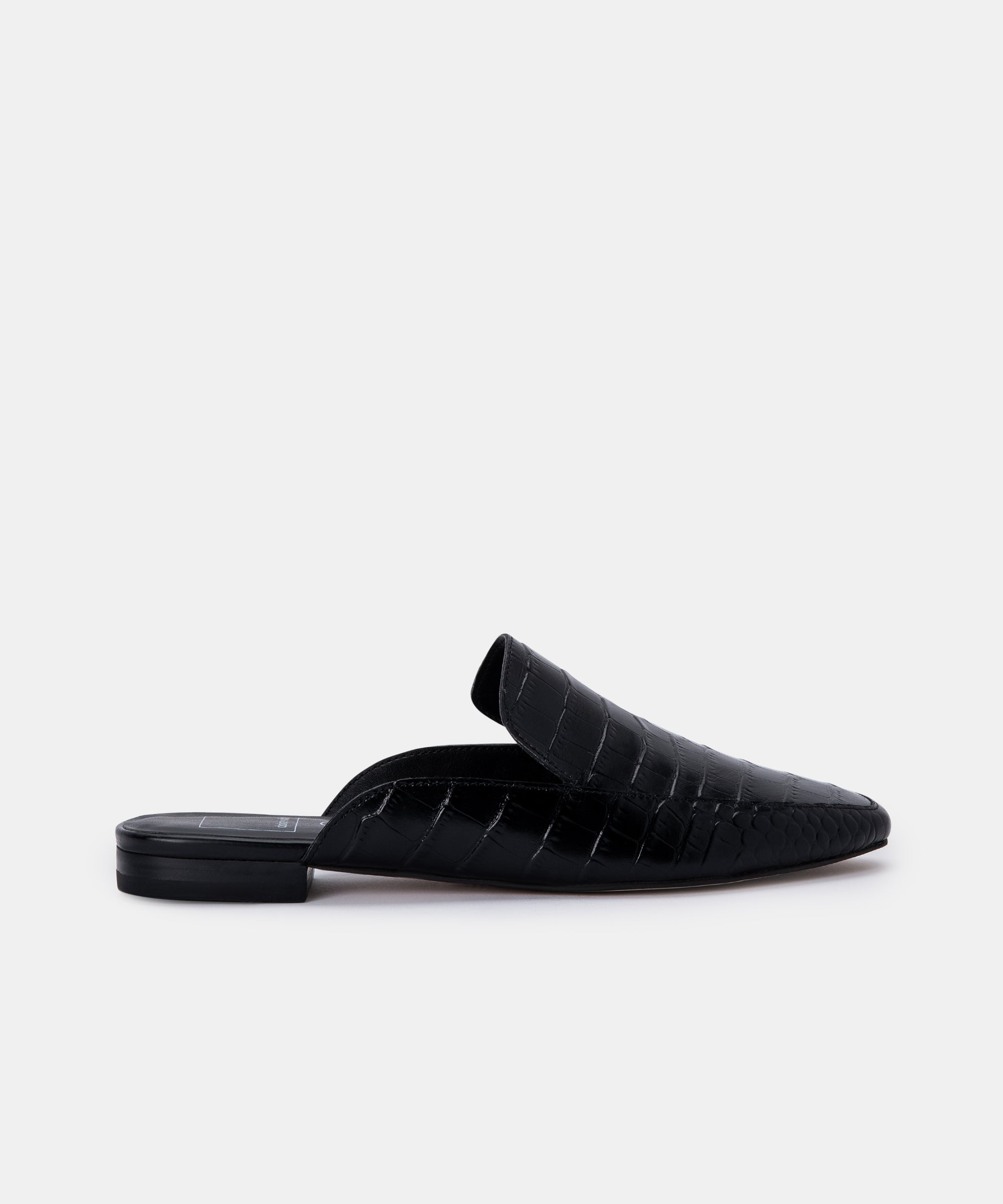 HARMNY FLATS IN NOIR CROC LEATHER