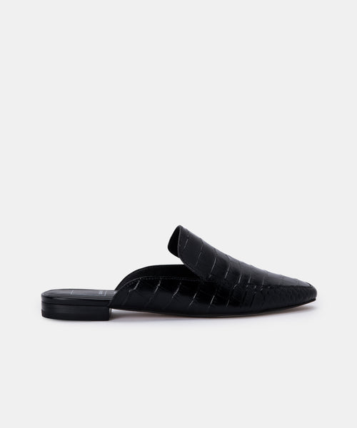 HARMNY FLATS IN NOIR CROC LEATHER -   Dolce Vita