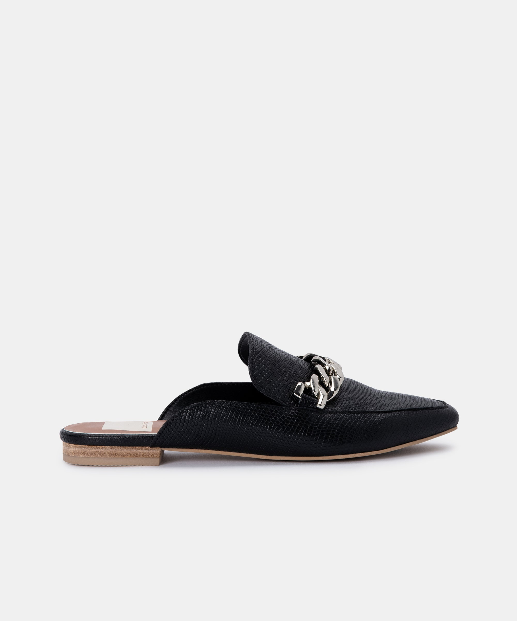 HAYAT FLATS IN BLACK EMBOSSED LIZARD