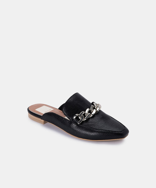 HAYAT FLATS IN BLACK EMBOSSED LIZARD -   Dolce Vita