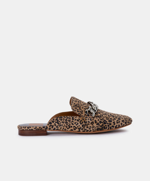 HAYAT FLATS IN TAN/BLACK DUSTED LEOPARD SUEDE -   Dolce Vita