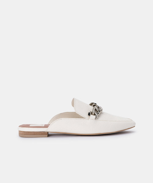 HAYAT FLATS IN WHITE EMBOSSED LIZARD -   Dolce Vita