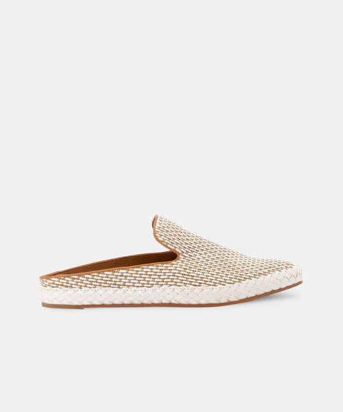 ODIS FLATS IN NATURAL-WHITE RAFFIA -   Dolce Vita