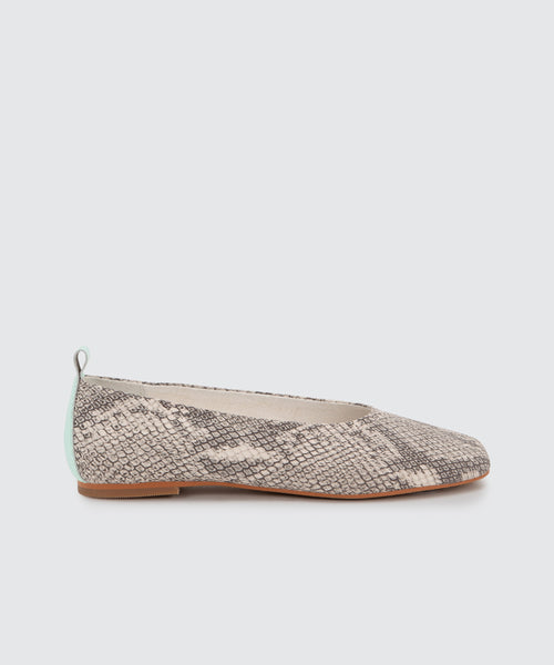 OZZIE FLATS IN WHITE/BLACK SNAKE PRINT LEATHER -   Dolce Vita