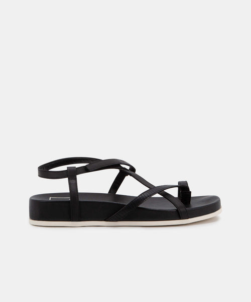 RHYAN SANDALS IN BLACK EMBOSSED LIZARD -   Dolce Vita