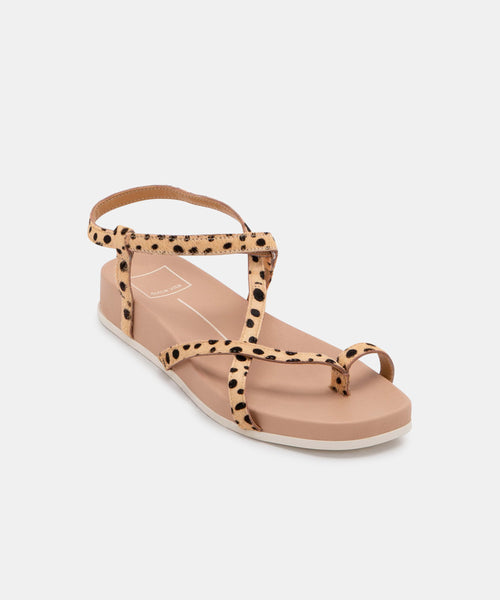 RHYAN SANDALS IN LEOPARD CALF HAIR -   Dolce Vita