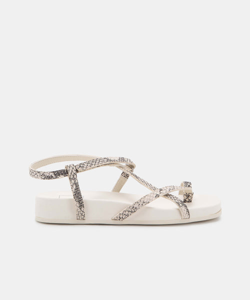 RHYAN SANDALS IN STONE SNAKE PRINT LEATHER -   Dolce Vita