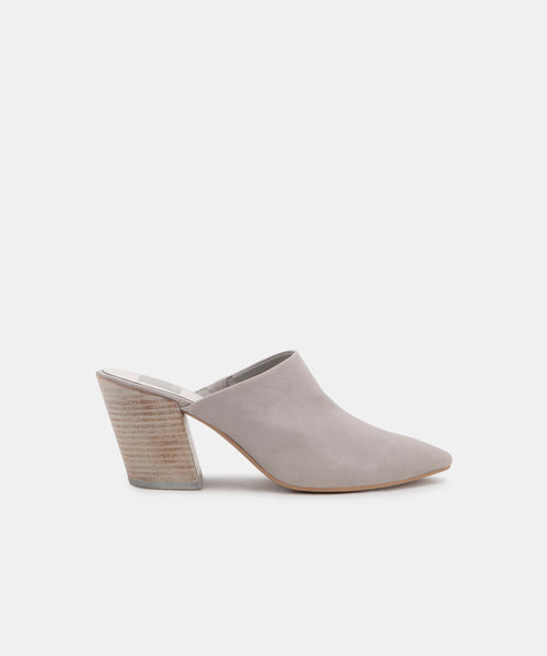 ANGELA MULES IN GREY LEATHER -   Dolce Vita